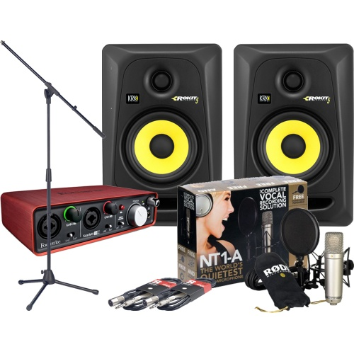 Focusrite Scarlett 2i2, Rode NT1-A, KRK RP5 G3, Mic Stand + Cables
