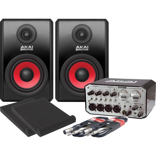 Akai RPM500 Active Studio Monitors, EIE Pro, Iso Pads & Cables Bundle