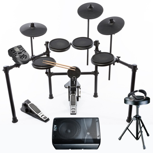 Alesis Nitro 8 Piece Electronic Drum Kit + Drum Stool, Sticks, Speaker & Headphones