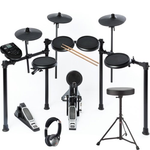 Alesis Nitro 8 Piece Electronic Drum Kit + Drum Stool, Sticks & HF125