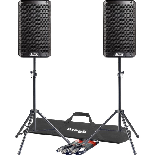 Alto TS208 8'' Active PA Speakers + Tripod Stands & Leads
