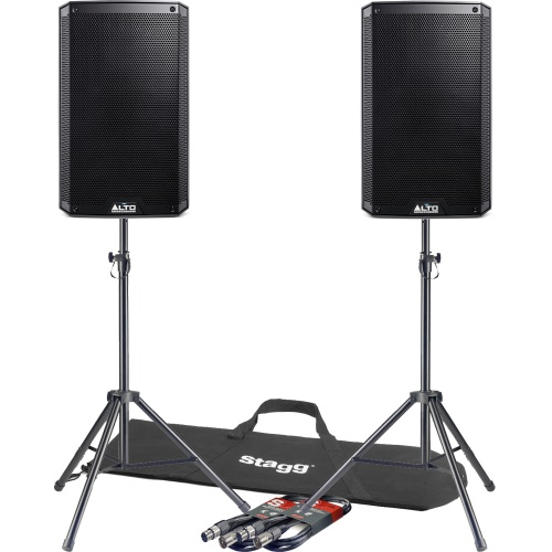 Alto TS210 10'' Active PA Speakers + Tripod Stands & Leads