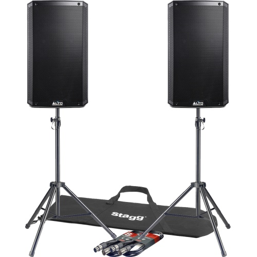 Alto TS212 12'' Active PA Speakers  + Tripod Stands & Leads