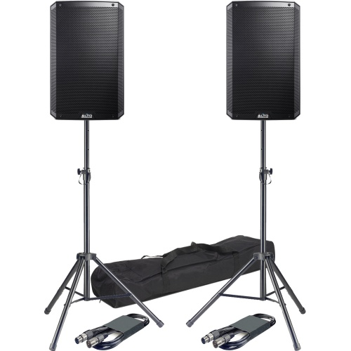 Alto TS212W 12'' Active Wireless PA Speakers  + Tripod Stands & Leads