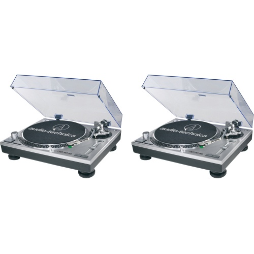 Audio Technica AT-LP120-USBHC Direct Drive Silver Turntable (Pair)