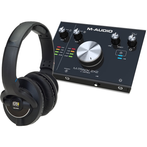 ​KRK KNS8400 Studio Headphones + M-Audio M-Track 2x2 Bundle