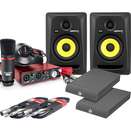 KRK Rokit RP5 G3 (Pair), Scarlett Studio Pack (2nd Gen), Pads & Leads