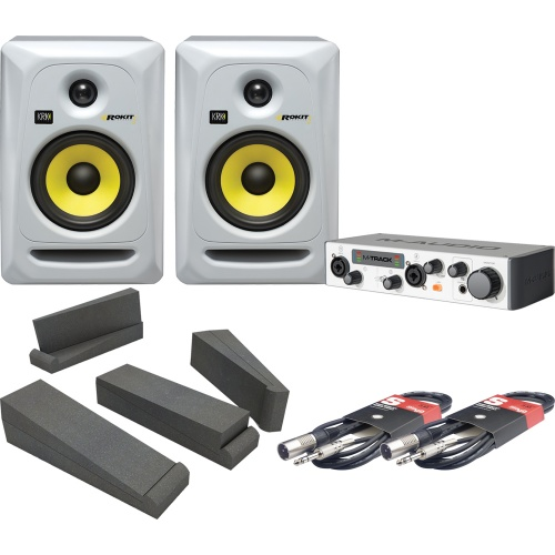 KRK Rokit RP5 G3 White x2, M-Audio M-Track II, Iso Pads, Cables Bundle