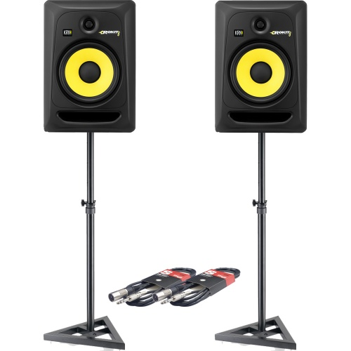 KRK Rokit RP8 G3 (Pair) + Monitor Stands + Leads Bundle