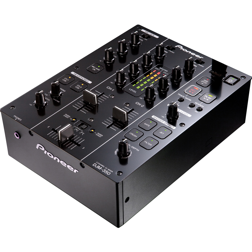 pioneer 2 channel mixer. pioneer djm-350-k 2 channel dj mixer with effects m