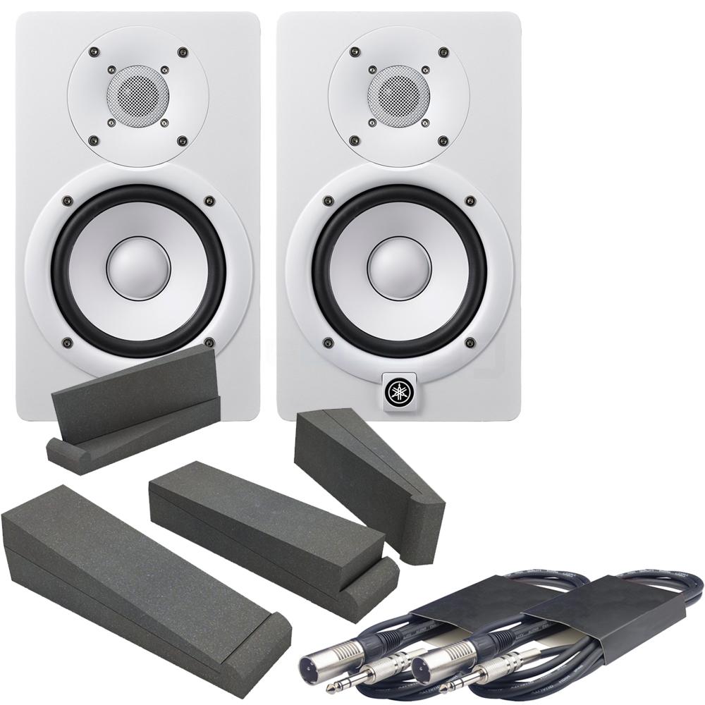 yamaha hs5 pair. yamaha hs5 white active studio monitors, isolation pads \u0026 leads bundle hs5 pair