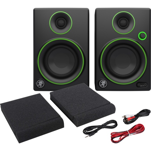 Mackie CR3 Active Desktop Studio Monitors, Pads & Leads Bundle