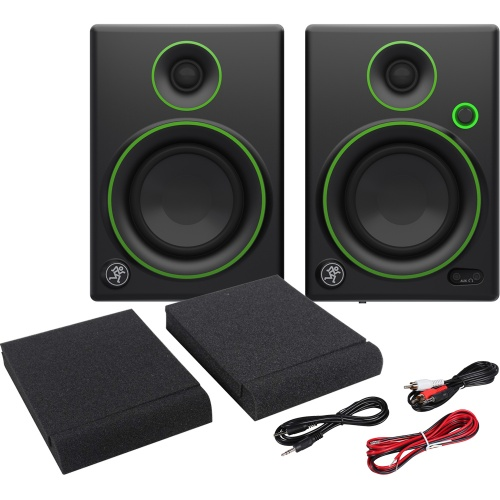 Mackie CR4 Active Desktop Studio Monitors, Pads & Leads Bundle