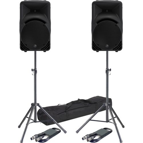 Mackie SRM450 V3 Active Portable PA Speakers, Stands & Leads Bundle