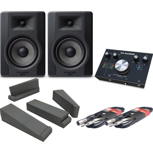 ​M-Audio BX5 D3 Studio Monitors + M-Track 2x2 + Isolation Pads + Leads