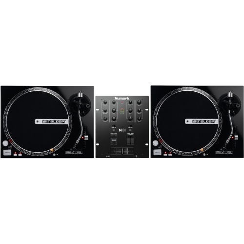 Reloop RP2000M Black DJ Turntable (Pair) + Numark M101 Mixer Bundle