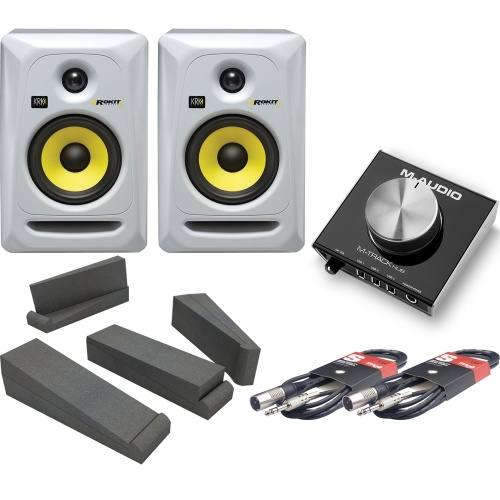 KRK RP5 G3 White (Pair), M-Track Hub, Isolation Pads & Leads Bundle