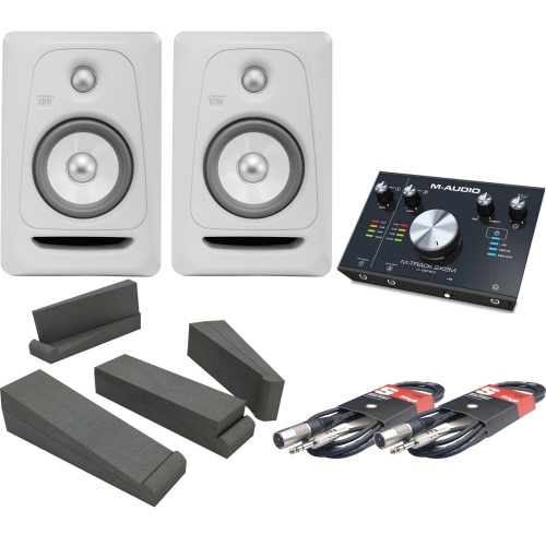 KRK RP5 G3 White Noise (Pair), M-Track 2x2M, Iso Pads & Leads Bundle