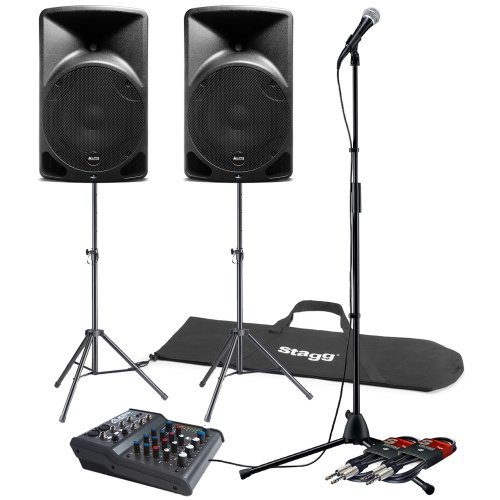 Shure PGA58 Vocal Microphone, Tripod Stands, Speakers, Mixer & Cables