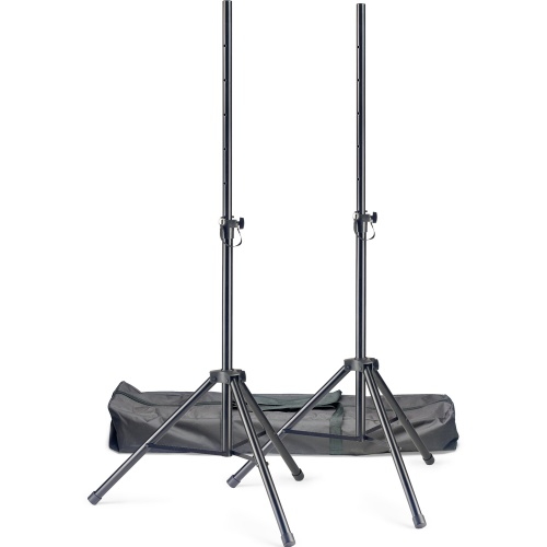 Stagg Tripod PA Speaker Stands (Pair) + Durable Carry Case
