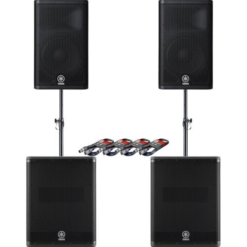 ​2 x Yamaha DXR12 Active PA Speaker + 2 x DXS15 Active Subwoofer & Leads