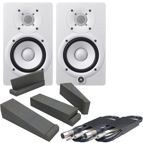 Yamaha HS5 White Active Studio Monitors, Isolation Pads & Leads Bundle