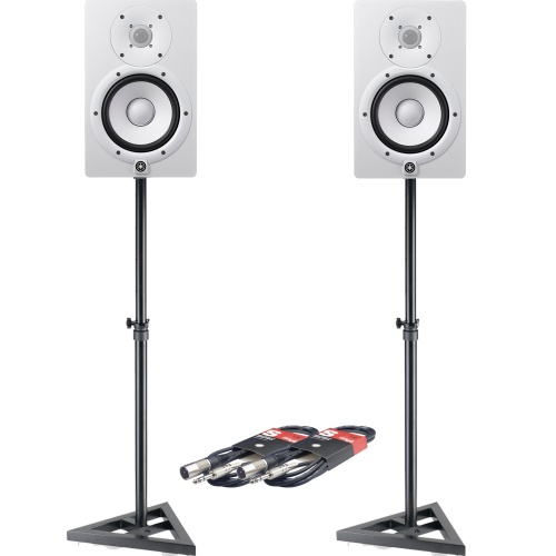 Yamaha HS8 White Active Studio Monitors + Stands & Leads