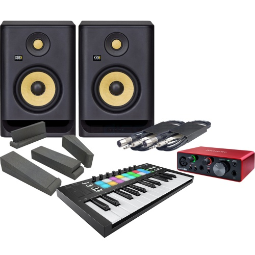 Novation Launchkey Mini MK3, Focusrite Scarlett Solo G3 & KRK RP5 G4