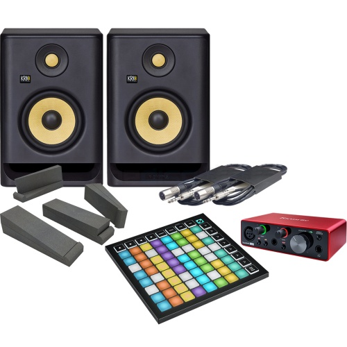 Novation Launchpad Mini MK3, Focusrite Scarlett Solo G3 & KRK RP5 G4