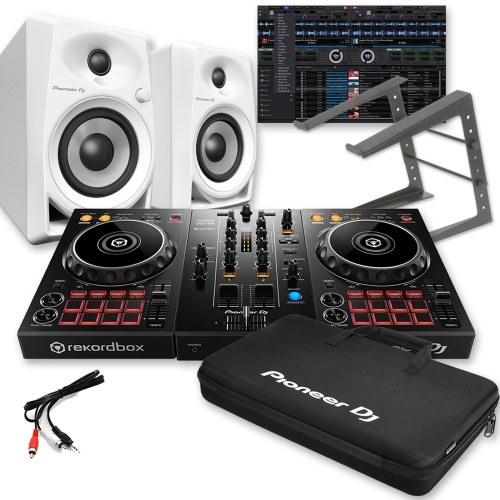 ​Pioneer DDJ-400, DM-40 White, Rekordbox DJ, Carry Bag & Laptop Stand