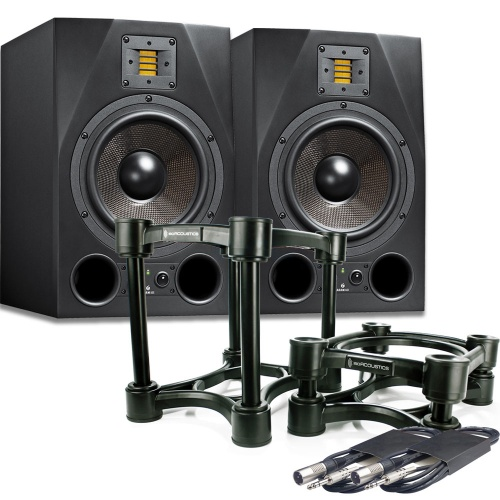 Adam Audio A8X Studio Monitors + Iso-Acoustic 200 Stands + Leads Deal