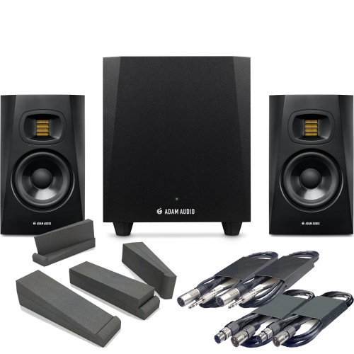 Adam Audio T10S Sub + T5V Studio Monitors, Pads & Leads Bundle