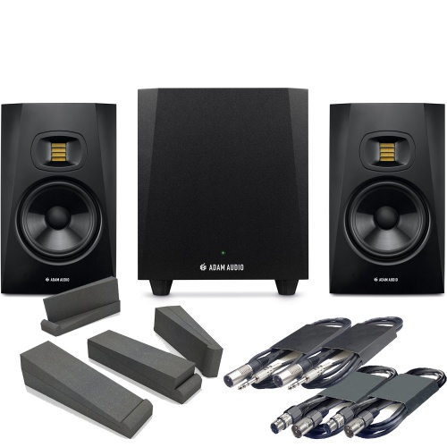 Adam Audio T10S Sub + T7V Studio Monitors, Pads & Leads Bundle