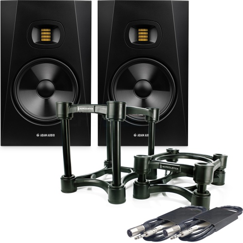 Adam Audio T8V Active Studio Monitors + ISO-200 Stands & Leads Bundle
