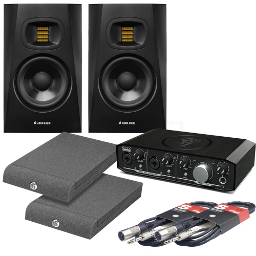 Adam Audio T5V (Pair) Mackie Onyx 2.2 Interface Iso Pads & Leads Bundle