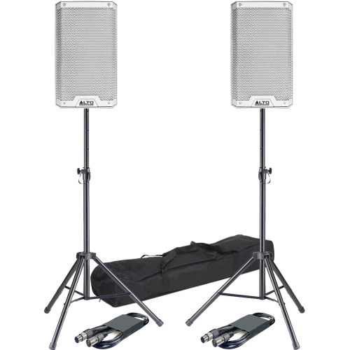 Alto TS208 White 8'' Active PA Speakers + Tripod Stands & Leads