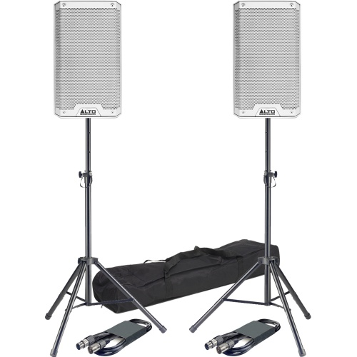 Alto TS212 White 12'' Active PA Speakers + Tripod Stands & Leads