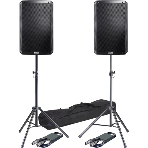 Alto TS215 15'' Active PA Speakers + Tripod Stands & Leads