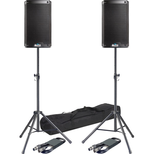 Alto TS308 8'' Active PA Speakers + Tripod Stands & Leads Bundle