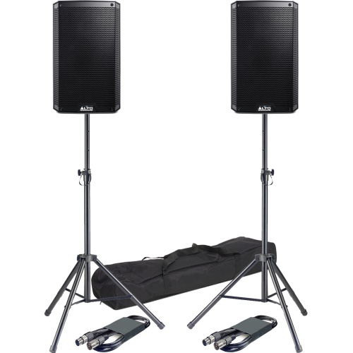 Alto TS310 10'' Active PA Speakers + Tripod Stands & Leads Bundle