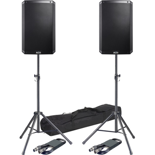 Alto TS315 15'' Active PA Speakers + Tripod Stands & Leads Bundle