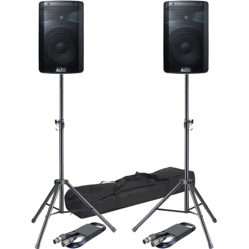 Alto TX210 10'' Active PA Speakers + Tripod Stands & Leads Bundle