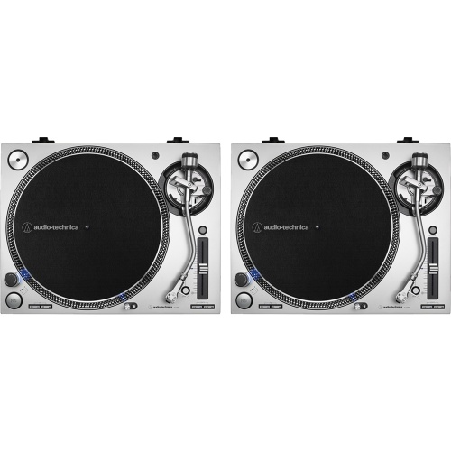 Audio Technica AT-LP140XP Silver, Direct Drive DJ Turntables (Pair)