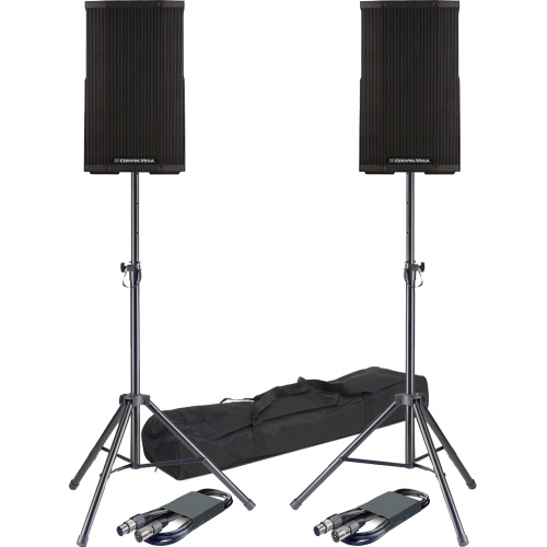 Cerwin Vega CVE-12 Active PA Bluetooth Speakers + Stands & Leads Bundle