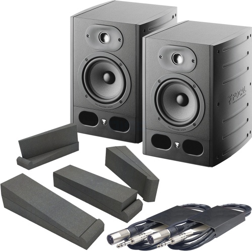 Focal Alpha 50 Active Studio Monitors + Isolation Pads + Leads Bundle