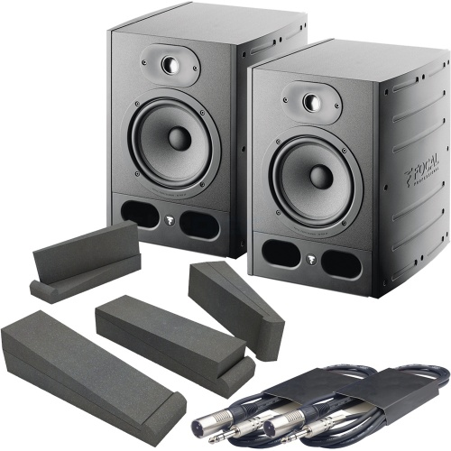 Focal Alpha 65 Active Studio Monitors + Isolation Pads + Leads Bundle