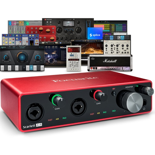 Focusrite Scarlett 4i4 (G3) USB Audio Interface + Free Plugin Bundle