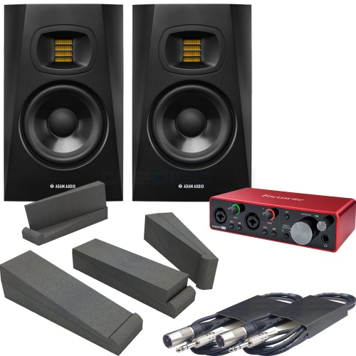 Adam Audio T5V (Pair) + Focusrite Scarlett 2i2 3rd Gen, Pads & Leads