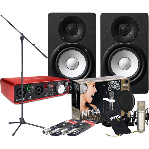 Focusrite Scarlett 2i2 (G2), Rode NT1-A, Yamaha HS5, Mic Stand, Cables