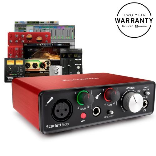 Focusrite Scarlett Solo (2nd Gen) Audio Interface, Free Plugin Bundle (B-Stock)